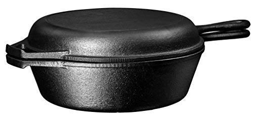 2 in 1 Multi Cooker Skillet and Lid Set, 3-Quart - Bruntmor