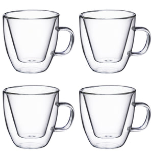 Double Wall Glass with Handle 4 oz, Set of 4