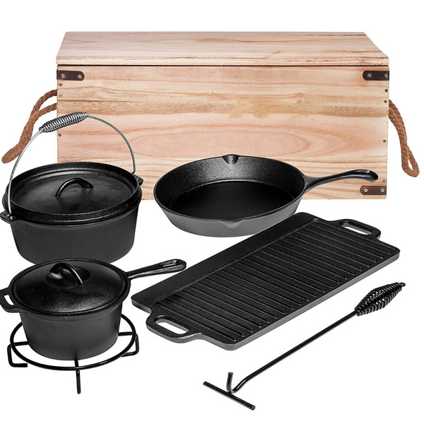 7 Piece Heavy Duty Cast Iron Camping Cooking Set with Box - Bruntmor