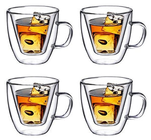 Double Wall Glass with Handle 4 oz, Set of 4 - Bruntmor
