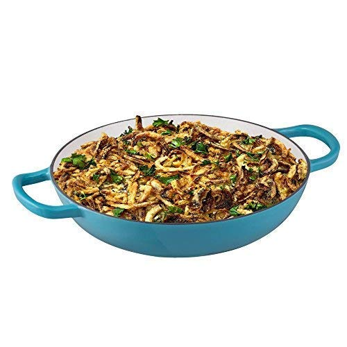 Enameled Cast Iron Casserole Braiser - Pan with Cover, 3.8-Quart, Marine Blue - Bruntmor