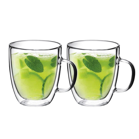 Double Wall Glass with Handle 15 oz, Set of 2 - Bruntmor