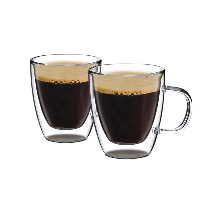 Double Wall Glass with Handle 8 oz, Set of 2 - Bruntmor