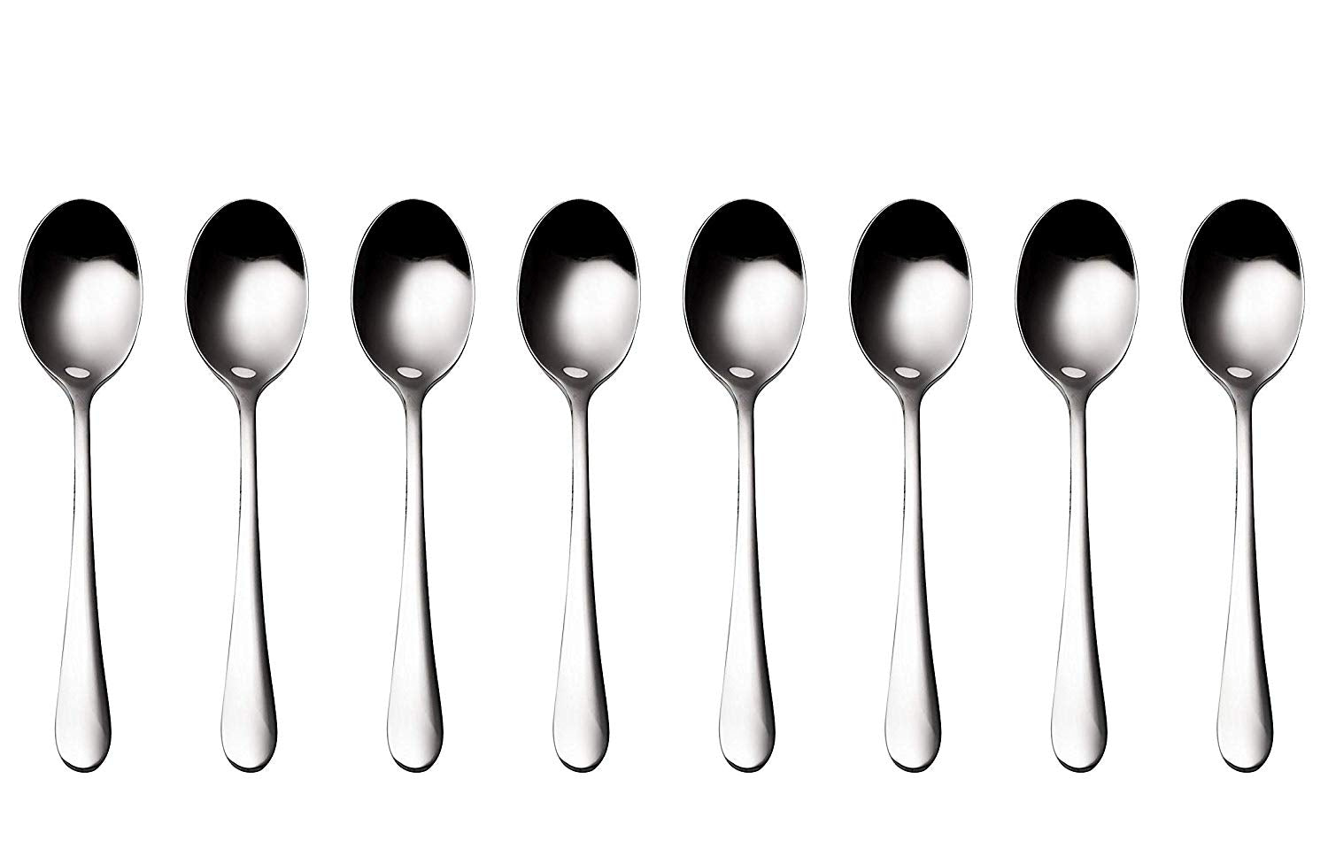 Bruntmor, ALBA Silverware Royal 18/10 Stainless Steel, 8 Dessert Spoons - Bruntmor