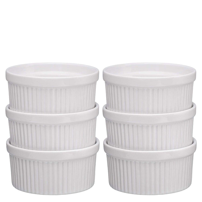 Ceramic Ramekins Set of 6 (White) - Bruntmor