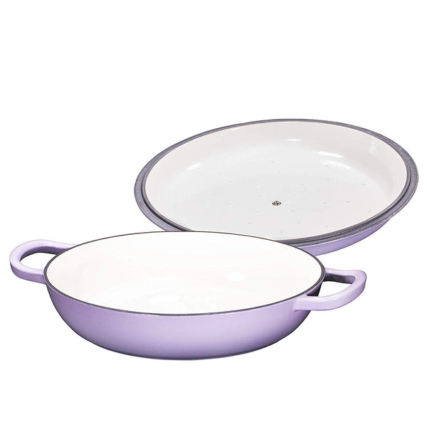 Enameled Cast Iron Casserole Braiser - Pan with Cover, 3.8-Quart, Purple - Bruntmor