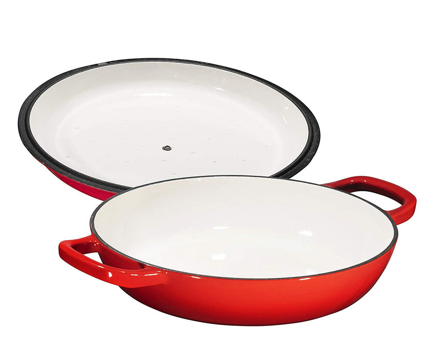 Enameled Cast Iron Casserole Braiser Pan with Cover, 3.8-Quart, Fire Red - Bruntmor