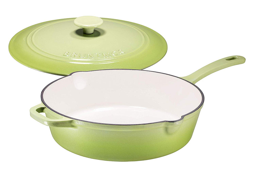Enameled Cast Iron Skillet Deep Sauté Pan with Lid, 12 Inch, Matte Green, Superior Heat Retention - Bruntmor