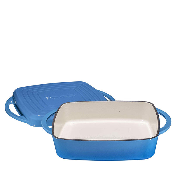 "Enameled Cast Iron Square Casserole Baker With Griddle Lid 2 in 1 Multi Baker Dish 11"" - Blue Whale - Bruntmor"