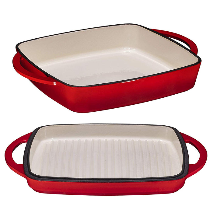 "Enameled Cast Iron Square Casserole Baker With Griddle Lid 2 in 1 Multi Baker Dish 11"" - Fire Red - Bruntmor"