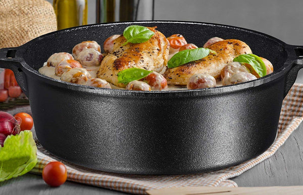 Cast Iron Dutch Oven with Flanged Lid 6 Quart Flat Bottom - Bruntmor