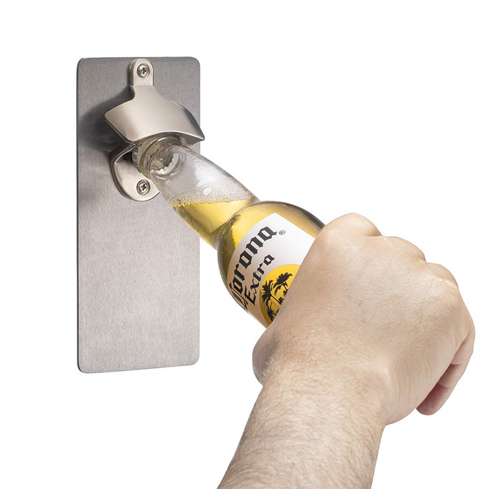 Bruntmor, CAPMAGS Strong Magnetic w/Zinc Alloy Beer Opener & Cap Catcher - Metal Magnetic - Bruntmor