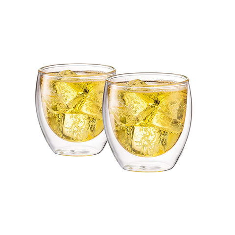 Double Wall Glass No Handle 8 oz, Set of 2 - Bruntmor