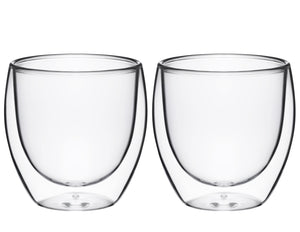 Double Wall Glass No Handle 8 oz, Set of 2
