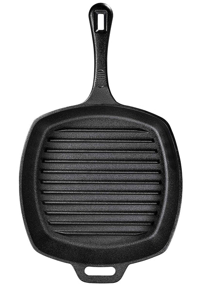 10 Inch Square Cast Iron Grill Pan. Pre-seasoned Grill Pan with Wide Loop Handle - Bruntmor