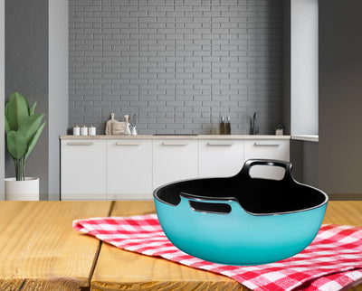 Enameled Cast Iron Balti Dish With Wide Loop Handles, 3 or 5 Quart  turquoise or  Fire Red - Bruntmor