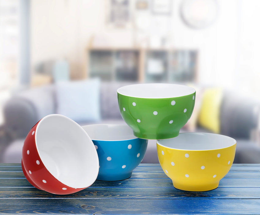 Ceramic Bowls- 4 Piece Set- Multi-Color - Bruntmor