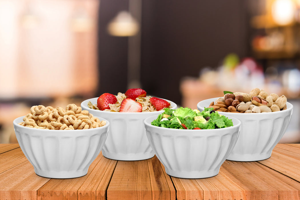 Everyday Ceramic Groove Bowls - Set of 4, 20 oz., White - Bruntmor