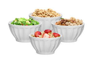 Everyday Ceramic Groove Bowls - Set of 4, 20 oz., White
