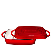 "Load image into Gallery viewer, Enameled Cast Iron Square Casserole Baker With Griddle Lid 2 in 1 Multi Baker Dish 11"" - Fire Red - Bruntmor"