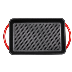 "Enameled Cast-Iron Rectangular Grill Pan, Loop Handles, Fire Red, 9.5"" x 13.5"""