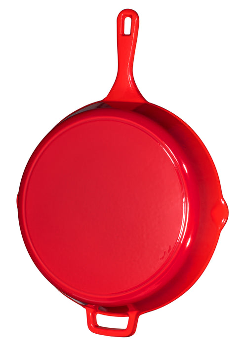 Red Enameled Cast Iron Skillet, 12 inch - Bruntmor