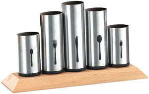 Stainless Steel Flatware Organizer Holder Caddy with Wood Base