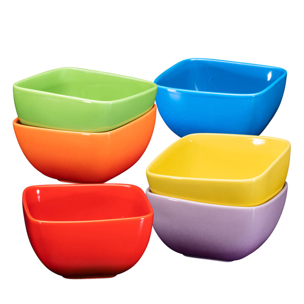 Bruntmor Large Ceramic Square Bowls - 26 Oz set of 6, Exceptional for Pasta, Berries, soup, Cereal - Bruntmor