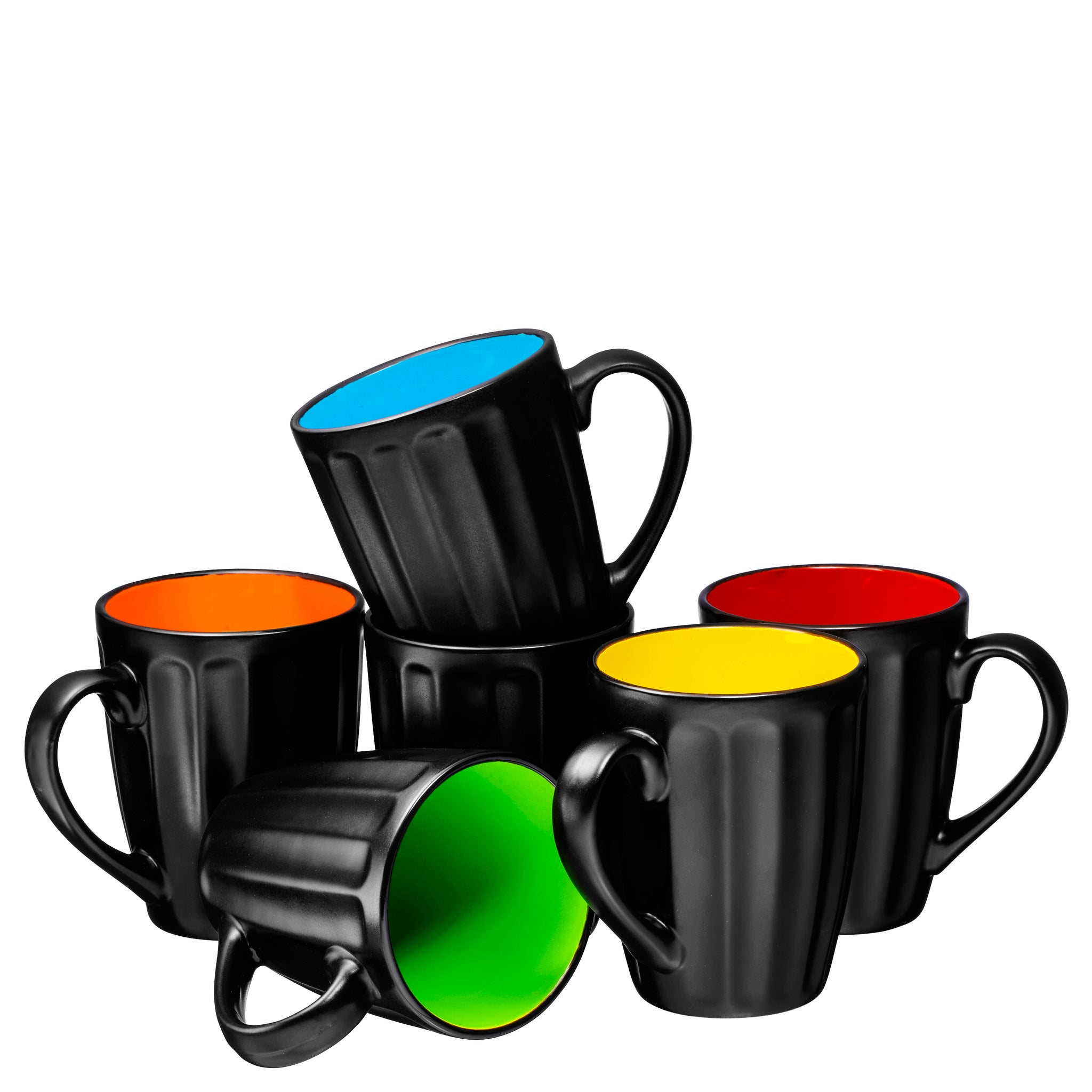 Set of 6 Large-sized 16 Ounce Ceramic Coffee Grooved Mugs - Bruntmor