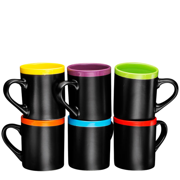 Ceramic Coffee Mugs 12oz Cups Tea Mugs Set of 6 Matte Black or multi colors - Bruntmor
