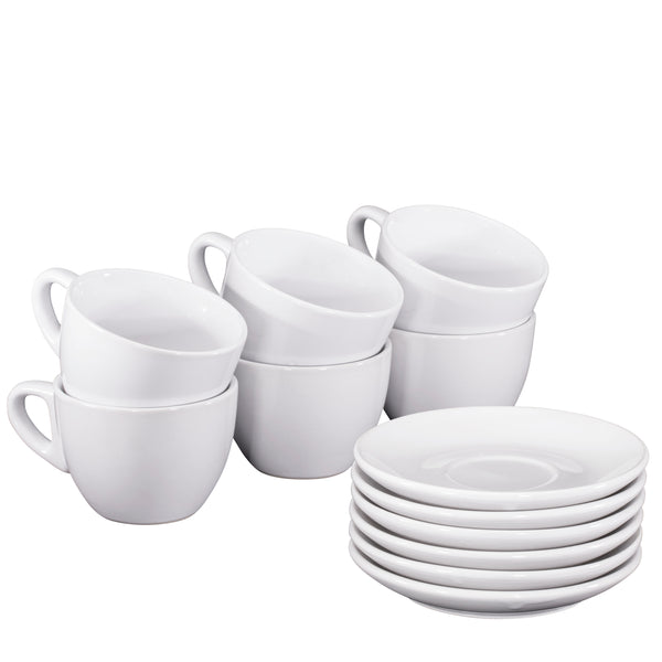 Espresso Cups with Saucers by Bruntmor - 6 ounce - Set of 6 - Bruntmor