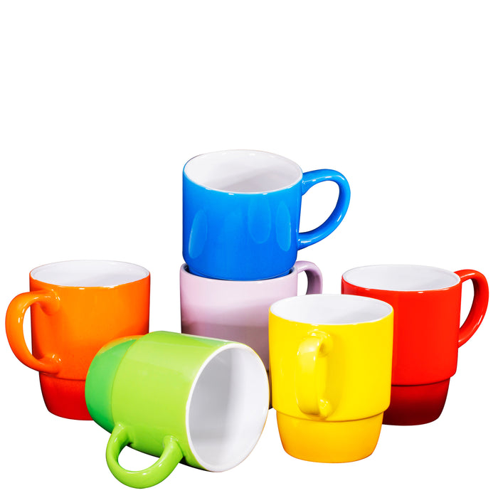 Ceramic Stacking Coffee Mug Tea Cup Dishwasher Safe Set of 6 - Large 18 Ounce - Bruntmor