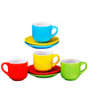 Espresso coffee Cups with Saucers by Bruntmor - 4 ounce  - Set of 4 - Bruntmor
