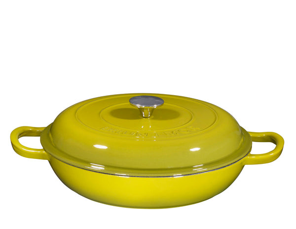 Enameled Cast Iron Casserole Braiser - Pan with Cover, 3.8-Quart, - Bruntmor