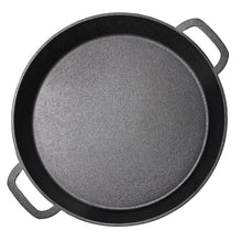 "Pre Seasoned Cast Iron Skillet Dual Handles - 16"" Durable Frying Pan Pizza Pan Large Loop Handles, Camping Skillet, Pizza Pan"