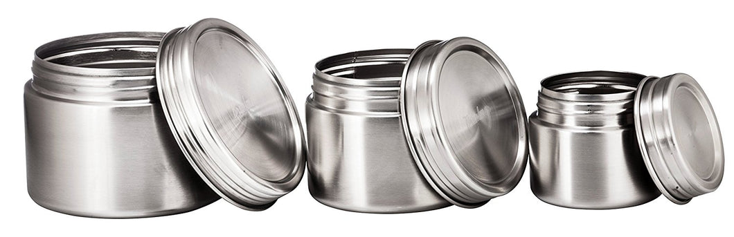 Stainless Steel Airtight Round Food Container, Set of 3
