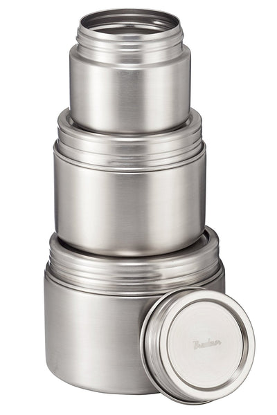Stainless Steel Airtight Round Food Container, Set of 3 - Bruntmor