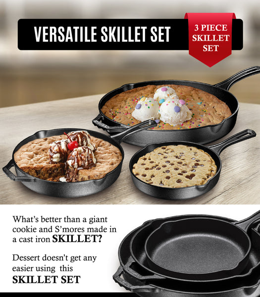 "Pre-Seasoned Cast Iron 3 Piece Skillet Bundle. 12"" + 10"" + 8"" Set - Bruntmor"