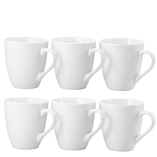 Ceramic Mugs, Set of 6, White - Bruntmor