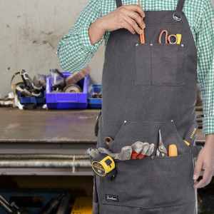 Heavy Duty Waxed Canvas Work Apron w/Pockets, Cross-Back Straps 1 Size Fits All - Bruntmor