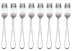 Bruntmor, ALBA Silverware, 18/10 Stainless Steel, 8 Dinner Forks - Bruntmor