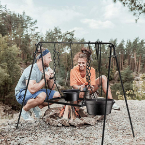 Bruntmor Grill Swing Campfire Cooking Stand BBQ Grill for Cookware & Dutch Oven Adjustable Collapsible Legs with Hooks & Accessories - Bruntmor