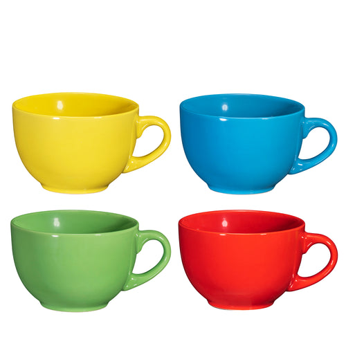 Wide Ceramic Mug, Set of 4, 24 Ounce
