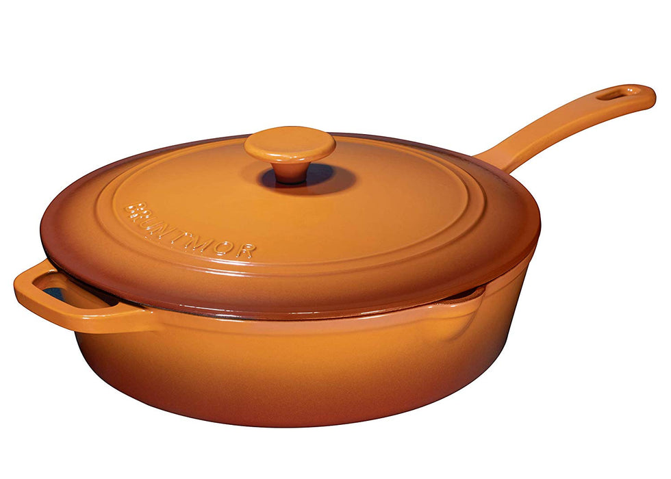 Enameled Cast Iron Skillet Deep Sauté Pan with Lid, 12 Inch, Purple - Bruntmor