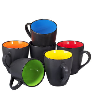 Ceramic Mugs, Set of 6, Black