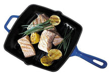 Enameled Cast Iron Square Grill Pan, Cobalt Blue