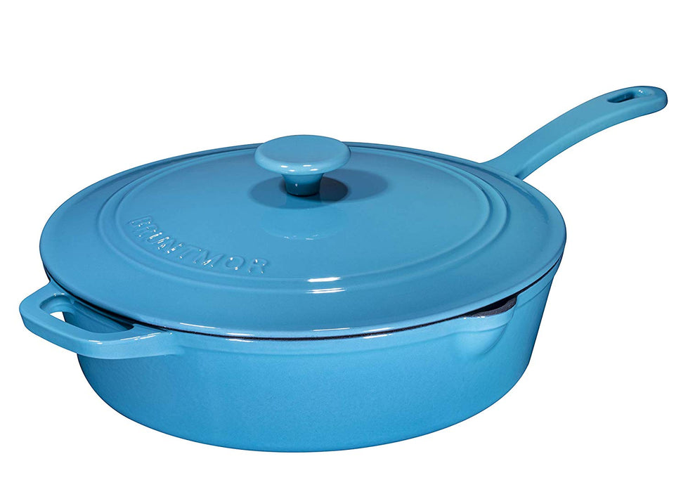 Enameled Cast Iron Skillet Deep Sauté Pan with Lid, 12 Inch,  Superior Heat Retention (Turquoise) - Bruntmor