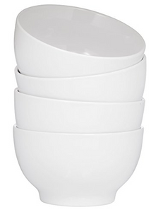 Ceramic Bowls- 4 Piece Set- White