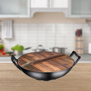 "Wooden Lid for 14"" Cast Iron Wok - Bruntmor"
