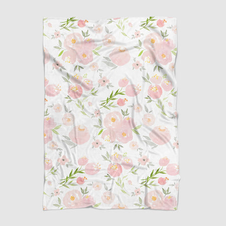 Pink Floral Minky Baby Blanket - Hillary Proctor Studio
